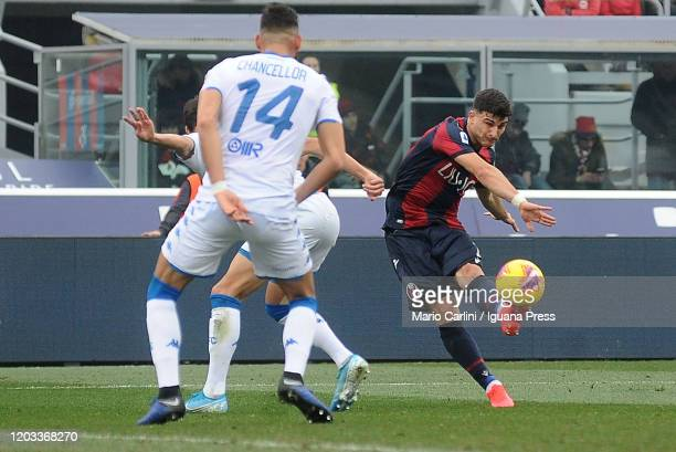Riccardo Orsolini of Bologna kicks towards the goal during the Serie A match between Bologna FC and Brescia Calcio at Stadio Renato Dall'Ara on...