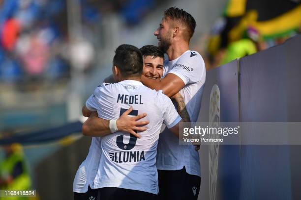 Riccardo Orsolini of Brescia Calcio celebrates a goal with team mates during the Serie A match between Brescia Calcio and Bologna FC at Stadio Mario...