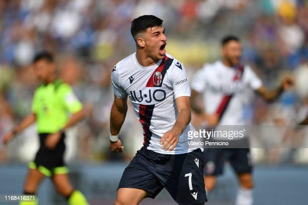 Riccardo Orsolini of Brescia Calcio celebrates during the Serie A match between Brescia Calcio and Bologna FC at Stadio Mario Rigamonti on September...