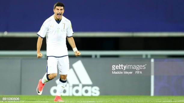 Riccardo Orsolini of Italy celebrates after scoring a gol during the FIFA U20 World Cup Korea Republic 2017 Round of 16 match between France and...