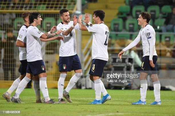 Riccardo Orsolini of Italy celebrates after scoring his goal during the UEFA Euro 2020 Qualifier between Italy and Armenia on November 18 2019 in...