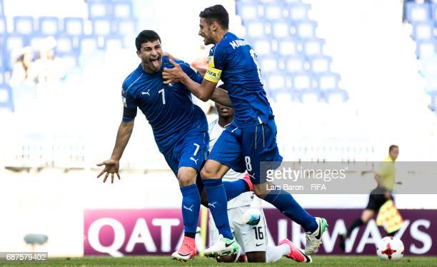 Riccardo Orsolini of Italy celebrates after scoring his teams first goal during the FIFA U-20 World Cup Korea Republic 2017 group D match between...