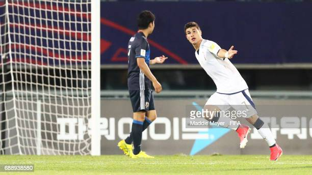 Riccardo Orsolini of Italy celebrates after scoring his teams first goal during the FIFA U20 World Cup Korea Republic 2017 group D match between...