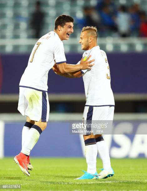 Riccardo Orsolini of Italy celebrates with Federico Dimarco after defeating France 21 in their FIFA U20 World Cup Korea Republic 2017 Round of 16...