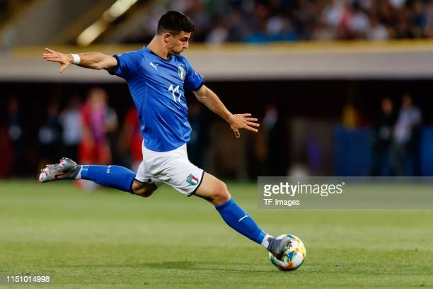 Riccardo Orsolini of Italy controls the ball during the 2019 UEFA U21 Group A match between Italy and Poland at Renato Dall'Ara Stadium on June 19...
