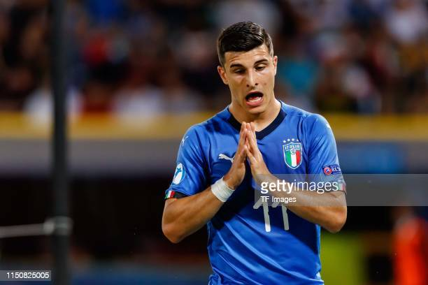 Riccardo Orsolini of Italy gestures during the 2019 UEFA U21 Group A match between Italy and Poland at Renato Dall'Ara Stadium on June 19 2019 in...