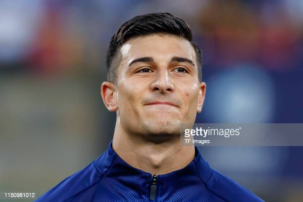 Riccardo Orsolini of Italy looks on prior to the 2019 UEFA U21 Group A match between Italy and Poland at Renato Dall'Ara Stadium on June 19 2019 in...