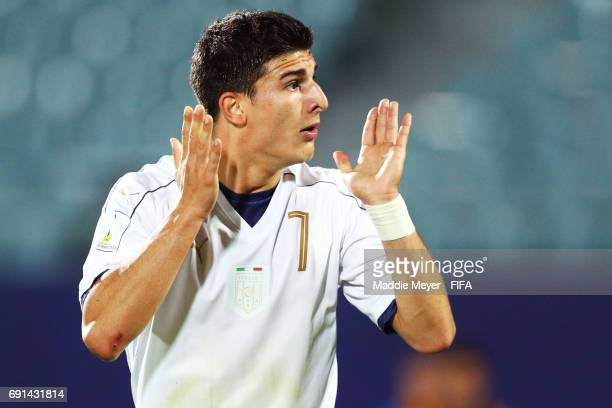 Riccardo Orsolini of Italy reacts to a foul called against his team during the FIFA U20 World Cup Korea Republic 2017 Round of 16 match between...