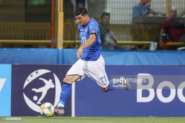 Riccardo Orsolini of Italy U21 during the UEFA UNDER21 Championship match between Italy and Poland at Renato Dall'Ara on June 19 2019 in Bologna Italy