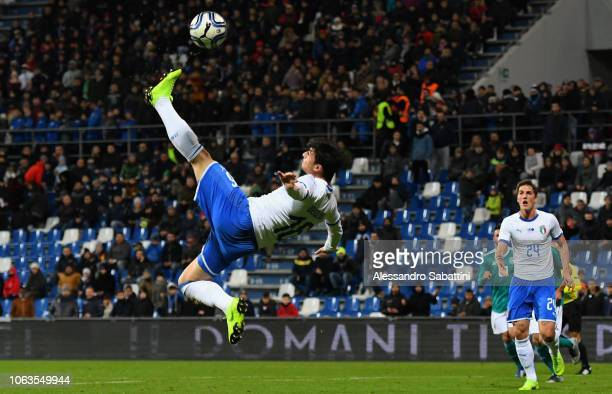 Riccardo Orsolini of Italy U21 in action during the International friendly match between Italy U21 and Germany U21 on November 19, 2018 in Reggio...