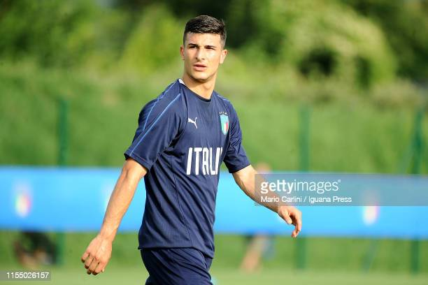 Riccardo Orsolini player of Italy U 21 National Football Team looks on during the training session at Casteldebole Training Center on June 10 2019 in...