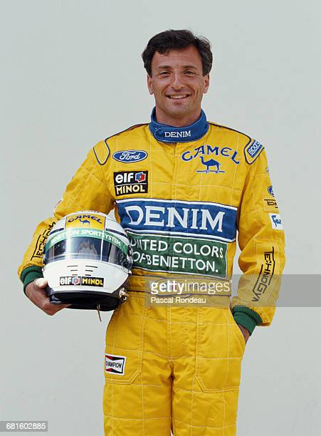 Riccardo Patrese of Italy driver of the Camel Benetton Ford Benetton B193 Ford HB V8 poses for a portrait during practice for the Yellow Pages South...