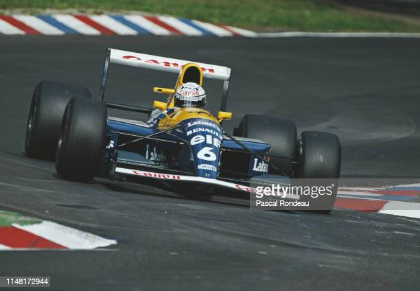 Riccardo Patrese of Italy drives the Canon Williams Renault Williams FW14B Renault V10 during practice during for the Mobil 1 German Grand Prix on 27...