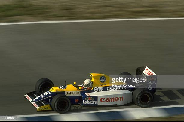 Riccardo Patrese of Italy in action in his Williams Renault during the Spanish Grand Prix at the Jerez circuit in Spain Patrese finished in fifth...