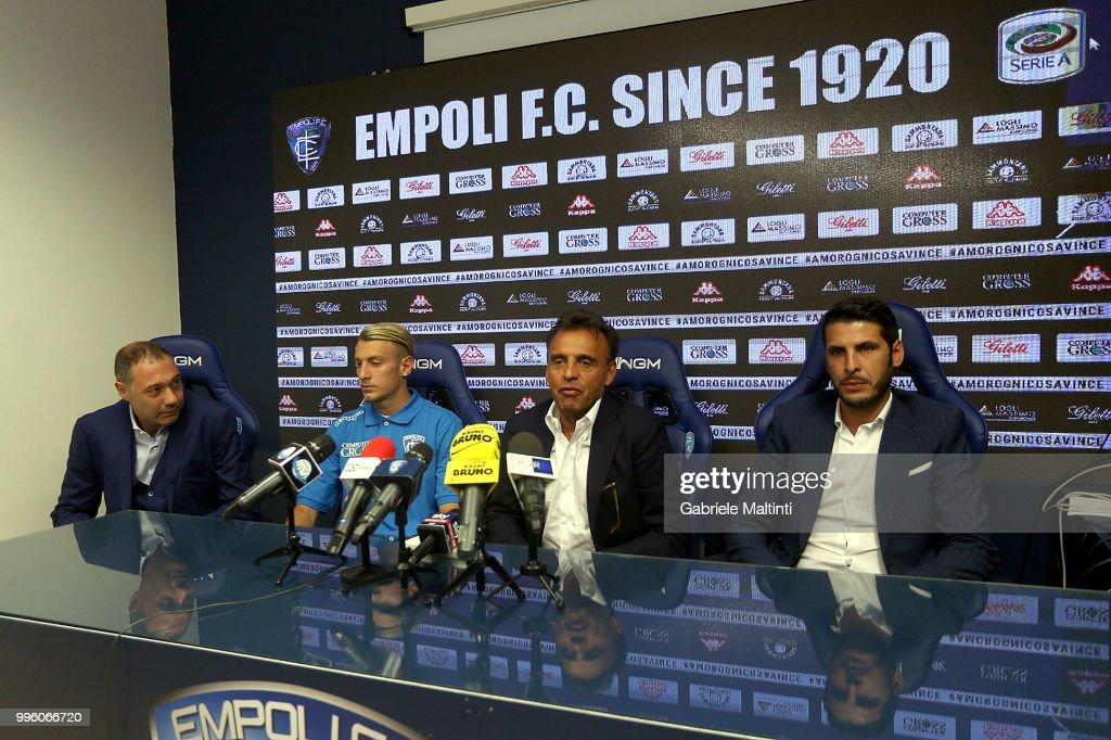 Riccardo Pecini , Antonino La Gumina, Fabrizio Corsi president of Empoli FC and Pietro Accardi on July 11, 2018 in Empoli, Italy.