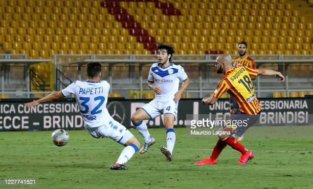 Riccardo Saponara of Lecce scores his team's third goal during the Serie A match between US Lecce and Brescia Calcio at Stadio Via del Mare on July...