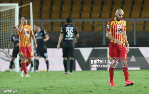 Riccardo Saponara of Lecce shows his dejection during the Serie A match between US Lecce and Parma Calcio at Stadio Via del Mare on August 02, 2020...