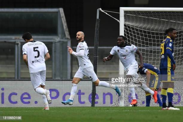Riccardo Saponara of Spezia Calcio celebrates after scoring their side's first goal during the Serie A match between Hellas Verona FC and Spezia...