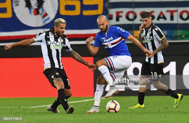 Riccardo Saponara of UC Sampdoria competes for the ball with Valon Behrami of Udinese Calcio during the serie A match between Udinese and UC...