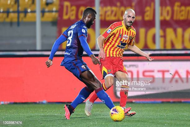 Riccardo Saponara of US Lecce vies with Nicolas N'Koulou of Torino FC during the Serie A match between US Lecce and Torino FC at Stadio Via del Mare...