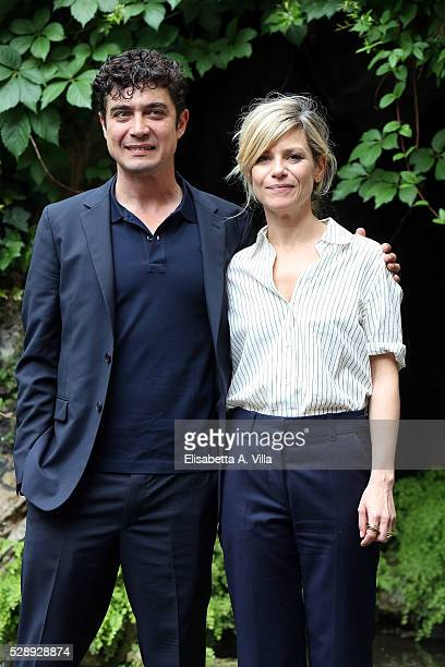 Riccardo Scamarcio and Marina Fois attend a photocall for 'Pericle Il Nero' at Jardin De Russie on May 7 2016 in Rome Italy
