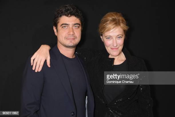 Riccardo Scamarcio and Valeria Bruni Tedeschi attend the Giorgio Armani Prive Haute Couture Spring Summer 2018 show as part of Paris Fashion Week on...