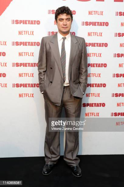 Riccardo Scamarcio attends the World Premiere of Netflix's Lo Spietato at Cinema Arlecchino on April 06 2019 in Milan Italy