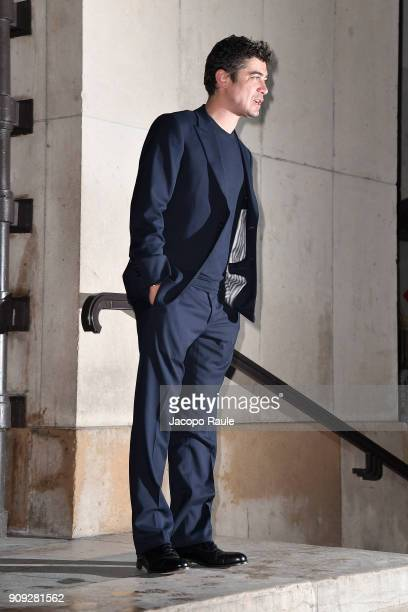 Riccardo Scamarcio is seen arriving at Armani Prive Fashion show during Paris Fashion Week Haute Couture Spring/Summer 2018 on January 23 2018 in...