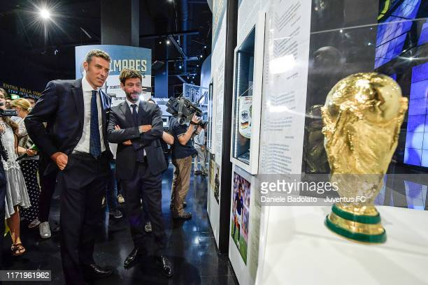 Riccardo Scirea and Andrea Agnelli attend the Gaetano Scirea Exhibition Opening at J Museum on September 03, 2019 in Turin, Italy.