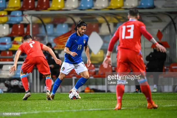 Riccardo Scottil of Italycontrols the ball during the UEFA Euro Under 21 Qualifier match between Luxembourg U21 and Italy U21 at Stade Municipal de...