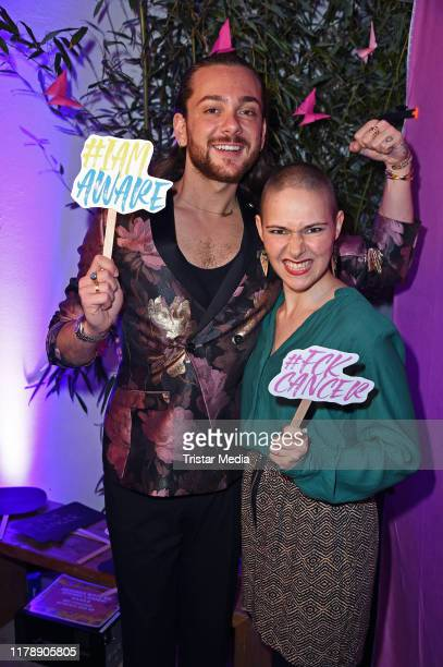 Riccardo Simonetti and cancer patient Susanne Grimm attend the Sloggi x DKMS #IAMAWARE Event at Woodboom on October 29 2019 in Berlin Germany