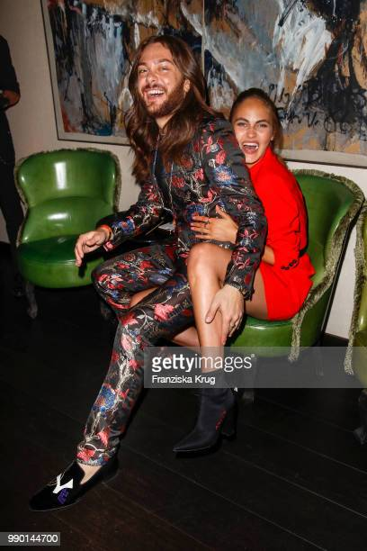 Riccardo Simonetti and Elena Carriere during the Bunte New Faces Night at Grace Hotel Zoo on July 2 2018 in Berlin Germany