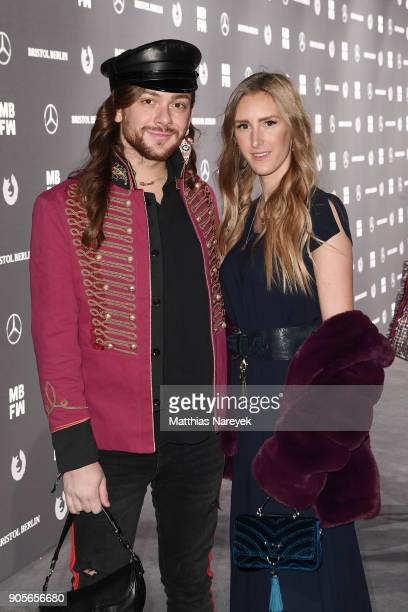 Riccardo Simonetti and Leslie Huhn attend the Riani show during the MBFW Berlin January 2018 at ewerk on January 16 2018 in Berlin Germany
