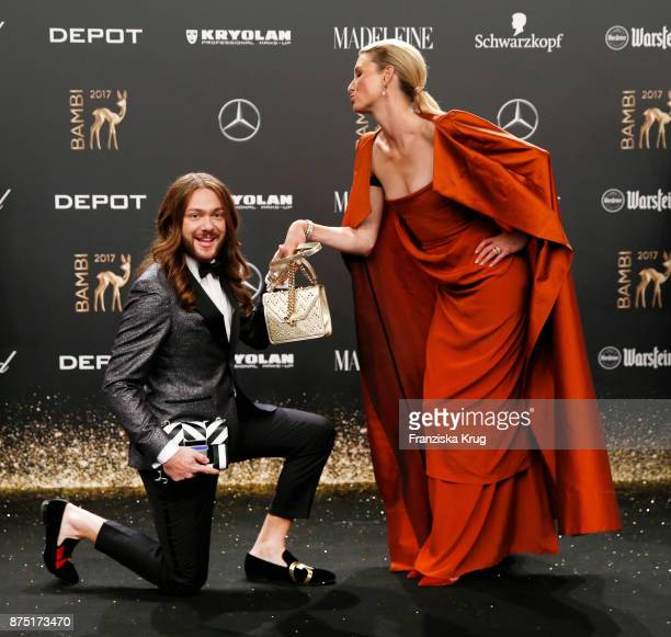 Riccardo Simonetti and Lilly zu SaynWittgenstein arrive at the Bambi Awards 2017 at Stage Theater on November 16 2017 in Berlin Germany