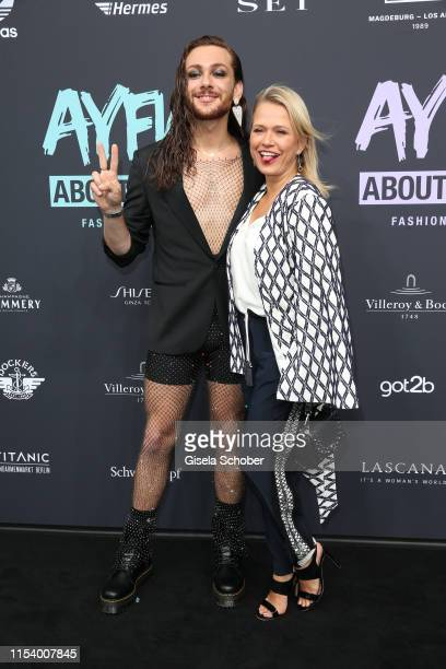 Riccardo Simonetti and Nova Meierhenrich attend the opening show of the AYFW About You Fashion Week at ewerk on July 05 2019 in Berlin Germany
