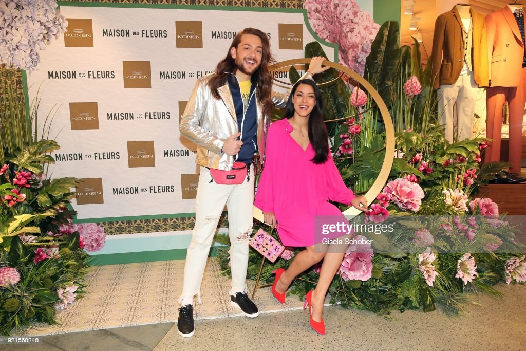 Riccardo Simonetti and Rebecca Mir during the 'Maison des Fleurs' photo session at KONEN on February 20, 2018 in Munich, Germany.