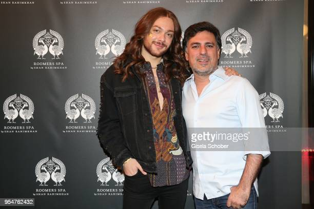 Riccardo Simonetti and Shan Rahimkhan during the Grand Opening of Roomers Spa by Shan Rahimkhan on May 4, 2018 in Munich, Germany.