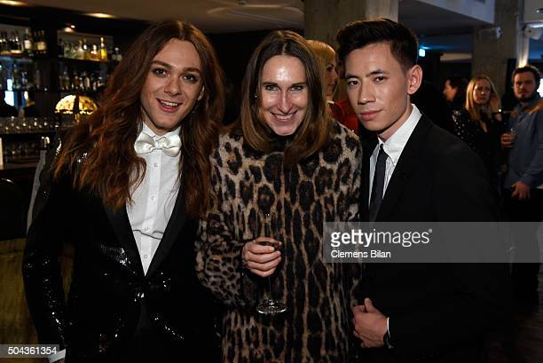 Riccardo Simonetti Annette Weber and Frank Lin attend E Red Carpet Influencer Suite promoting Live from the Red Carpet on german E Entertainment at...