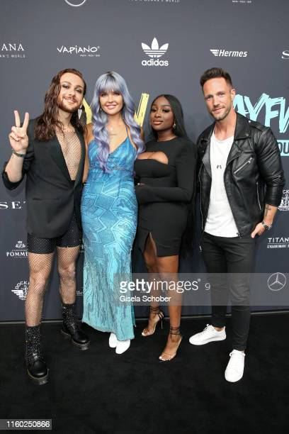 Riccardo Simonetti Bonnie Strange Sandra Lambeck and Daniel Fuchs attend the opening show of the AYFW About You Fashion Week at ewerk on July 05 2019...