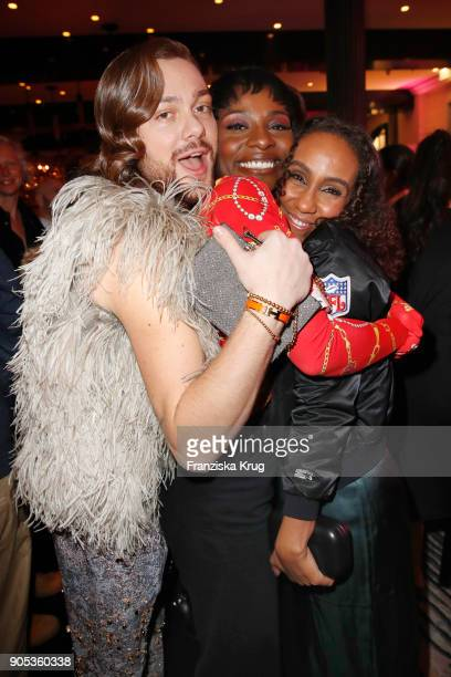 Riccardo Simonetti Nikeata Thompson and Hadnet Tesfai during the Bunte New Faces Night at Grace Hotel Zoo on January 15 2018 in Berlin Germany