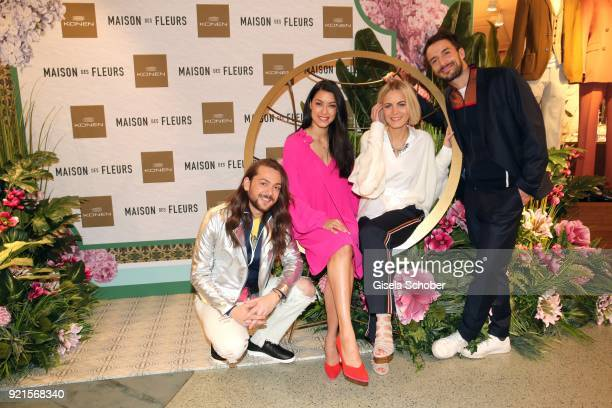 Riccardo Simonetti Rebecca Mir Mariana and Max Alberti during the 'Maison des Fleurs' photo session at KONEN on February 20 2018 in Munich Germany