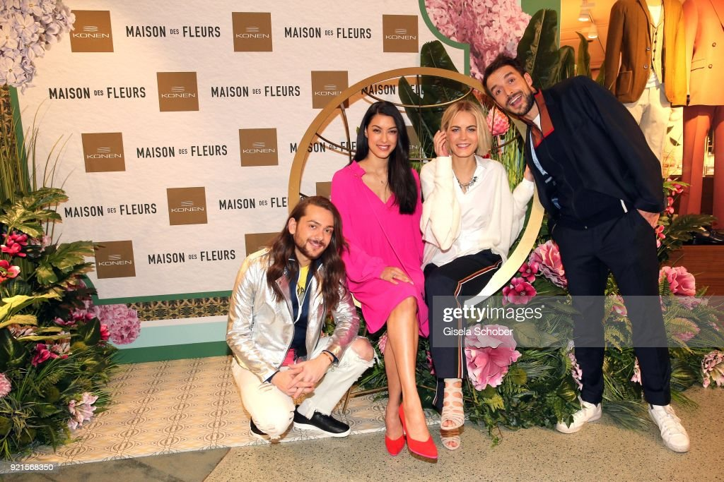 Riccardo Simonetti Rebecca Mir, Mariana and Max Alberti during the 'Maison des Fleurs' photo session at KONEN on February 20, 2018 in Munich, Germany.