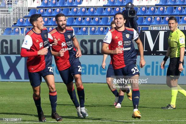 Riccardo Sottil of Cagliari celebrates his goal 1-0 during the Serie A match between Cagliari Calcio and FC Internazionale at Sardegna Arena on...