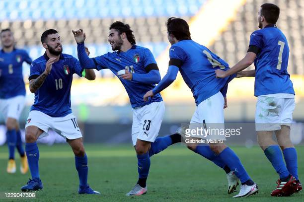 Riccardo Sottil of Italy U21 celebrates after scoring a goal during the UEFA Euro Under 21 Qualifier match between Italy U21 and Ireland U21 at Arena...