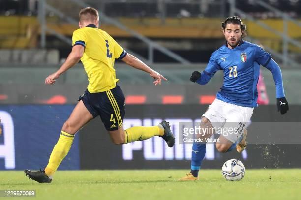 Riccardo Sottil of Italy U21 in action during the UEFA Euro Under 21 Qualifier match between Italy U21 and Sweden U21 at Arena Garibaldi on November...