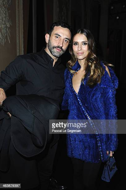 Riccardo Tisci and Aleksandra Melnichenko attend the Atelier Versace show as part of Paris Fashion Week Haute Couture Spring/Summer 2014 on January...