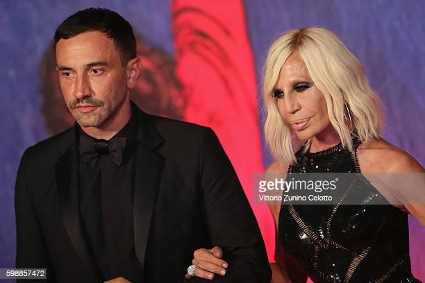 Riccardo Tisci and Donatella Versace attend the premiere of 'Franca Chaos And Creation' during the 73rd Venice Film Festival at Sala Giardino on...