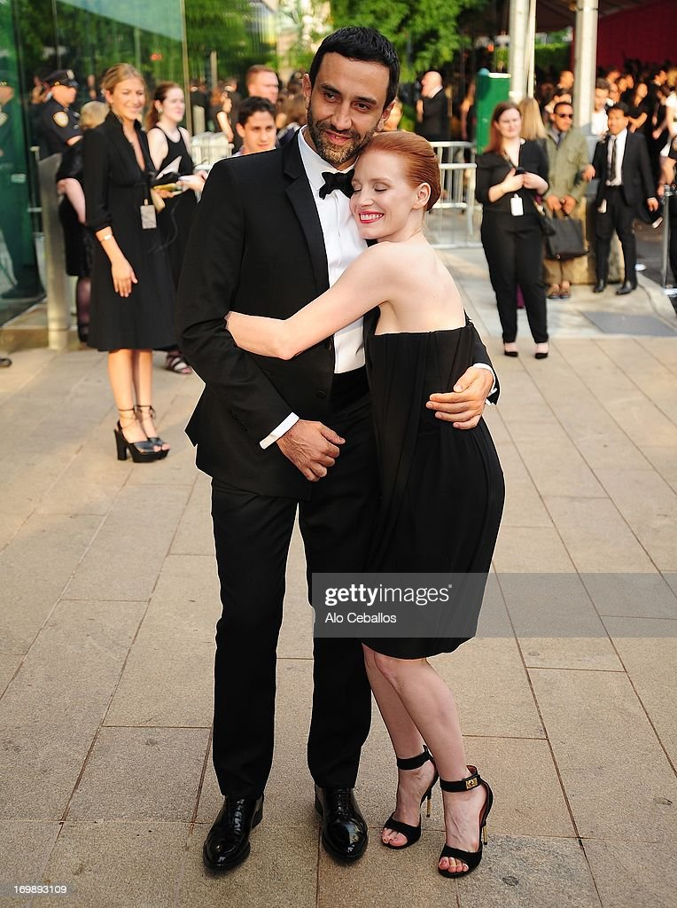 Riccardo Tisci and Jessica Chastain arrives at the 2013 CFDA Fashion Awards at Alice Tully Hall on June 3, 2013 in New York, New York.
