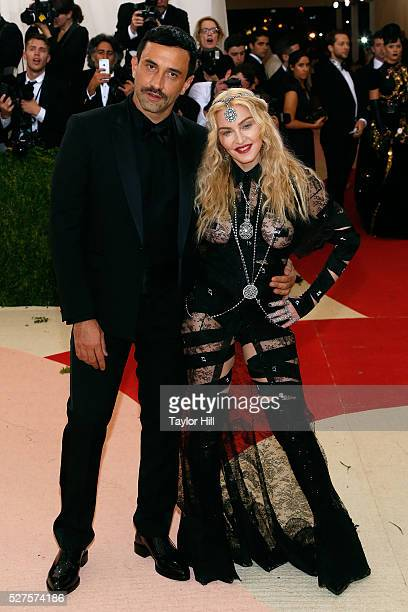 Riccardo Tisci and Madonna attend 'Manus x Machina Fashion in an Age of Technology' the 2016 Costume Institute Gala at the Metropolitan Museum of Art...