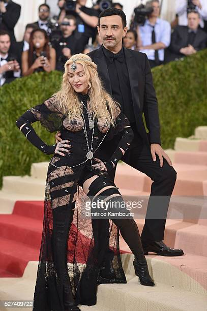 Riccardo Tisci and Madonna attend the 'Manus x Machina Fashion In An Age Of Technology' Costume Institute Gala at Metropolitan Museum of Art on May 2...